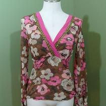 Sweet Pea Stacy Frati Brown Pink Floral Long Sleeve Top M Medium Photo