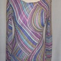 Sweet Pea Stacy Frati Multi Color Mesh Top Blouse Tunic Size Medium Long Sleeve Photo