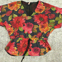 Sweet Pea Top by Stacy Frati Womens Size Small Short Sleeve With Floral Print Photo