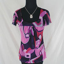 Sweet Pea Top S Small Nylon Mesh Pink Purple Abstract Mod Print Short Sleeve Photo