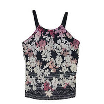 Swimsuits for All High Neck Tankini Top Sz 20 Black With Pink Blush Muted Floral Photo