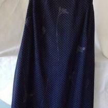 Swiss Dot Overlay With Floral Print  Dress Size 16 in Navy Blue 100% Polyester  Photo