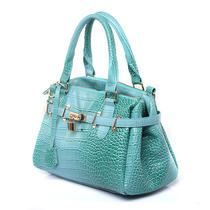 Synthetic Leather Aqua Crocodile Pattern Handbag Office Lady Satchel Tote Bag Photo