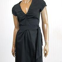 Sz 0 Women's Express Cotton Blend Solid Black Short Sleeve Wrap Dress Photo