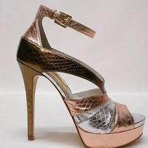 Sz 10 185 Michael by Michael Kors Leighton Ankle Strap Sandal Rose Gold Multi Photo