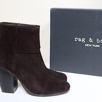 Sz 10 / 40 Rag & Bone Classic Newbury Burgundy Suede Ankle Bootie Heel Shoes Photo