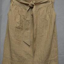 Sz 10 Nanette Lepore Beige Pinstripe Straight Skirt Tie Belt Waist  Photo