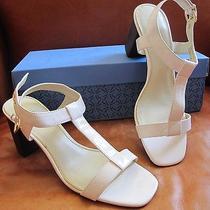 Sz 10 Vera Wang White Vegan Patent Leather T-Strap Shoe Wedding Pump Sandals 70 Photo