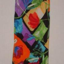 Sz 11 12 All That Jazz Slip Dress Abstract Floral Black Red Aqua Green Lilac Fun Photo