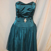 Sz 13 14 Masquerade Dress Strapless Short Prom Evening  Aqua Tulle Skirt Sparkle Photo