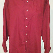 Sz 16.5/32-33 Ysl Red/maroon Ls Cotton Blend Front Button Dress Shirt Photo