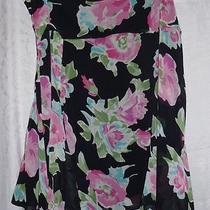 Sz 16 Chaps Black and Pink Aqua Flowered Flowy Skirt Photo