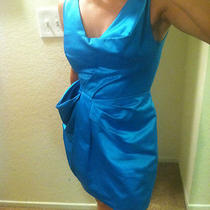 Sz 2 Bcbg Max Azria Runway Collection Origami Sculptural Aqua Blue Satin Dress Photo