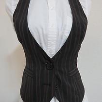 Sz 2 Black/dark Red/gray Striped Express Poly 870 Womens Suit Vest Waistcoat Photo
