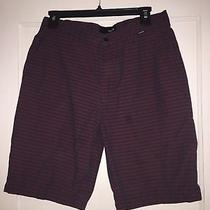 Sz 28 Hurley Parker 2.0 Like Board Shorts Burgundy Striped Design Photo