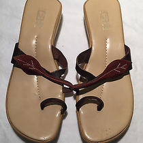 Sz 37 Eu/us 6.5-7 M Andrew Stevens Studio Brown Rubber/leather Med Heel Sandals  Photo