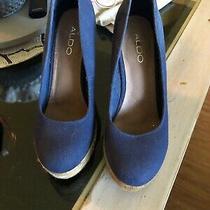Sz 38 8 Aldo 'Drewel' Espadrilles Platform Wedge Shoes Blue  Canvas Photo