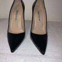 sz.38/8 Manolo Blahnik 'Bb' Pointy Toe Black Patent Leather Pump Heel Shoes Photo