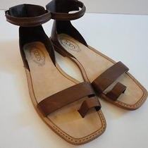 Sz 39.5 9.5 Tod's Toe Ring Gladiator Leather Sandals Gorgeous Lknw Photo