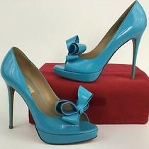 sz.39.5 Valentino Garavani Bow Peep Toe Blue Patent Leather Platform Pump  Photo