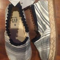 Sz 6 Baby Gap Kids Navy Blue Striped Espadrilles Slip on Shoes Toddler Girl Nwt Photo