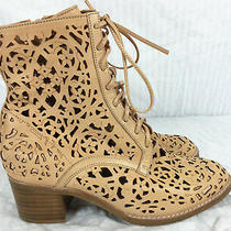 Sz 7.5 Jeffrey Campbell Floral Lace Perforated Piereced Cut Out Ankle Boots  Photo