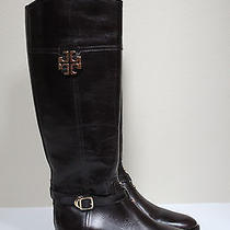 Sz 7 Tory Burch Eloise Brown Leather Gold Logo Riding Knee High Boot Shoes Photo