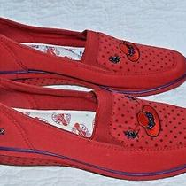 Sz 8.5  Red Hat Society Shoes Grasshoppers Keds Polka Dots Wedge Purple Flowers Photo