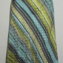 Sz 8 8p Valerie Stevens Silk Skirt Lime Aqua Stripes Spring Flirty Hem Polka Dot Photo