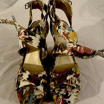 Sz 8 Guess Cork Wedge Floral Abstract Print Ankle Strap Tan Yellow Pink Blue Photo