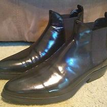 Sz 8 Italy Costume National Homme Black Patent Leather Ankle Boots Near Mint Photo