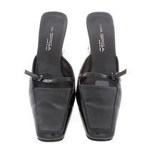 Sz 8 M via Spiga Shiny Black Leather 3 1/4' Heel Square Toe Mule Shoe. Photo