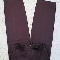 Sz 8 Pant Oscar De La Renta Dark Brown Silky Palazzo Style Smooth Flat Front  Photo