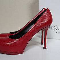 Sz 9.5 / 39.5 Ysl Yves Saint Laurent Tribtoo 80 Red Leather Platform Pump Shoes Photo