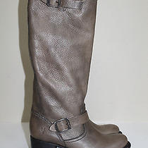 Sz 9 Frye Vera Slouch Gray Leather Pull on Biker Riding Heel Boot Shoes Photo