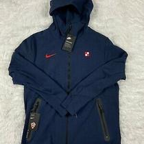 Sz L  Nike Sportswear Tech Pack Fleece Croatia Full Zip Hoodie Navy Ci8377-451 Photo