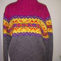 Sz L Nwt Express Women's Fair Isle Long Sleeve Wool Sweater- 100% Wool Photo