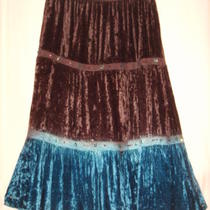 Sz L Temptation Boho Chic Skirt Mid Calf Brown Aqua Crushed Velour 3 Tiers  Photo