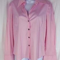 Sz L Trina Turk Shirt Baby Pink Cotton Stretch Sateen French Cuff Top Blouse Photo