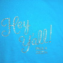 Sz L Women Aqua Blue Ss Tee Shirt- New With Tag- by Paula Deen-