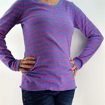 Sz M Damsel Knit Top Blue Pink Thermal Fleece Soft Stripe Urban Outfitters Photo