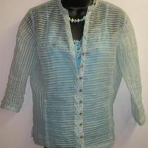 Sz M Jh Collectibles Aqua Blouse Bcbg Sz L Maxazria Cami Necklace Turq. Ivory Photo