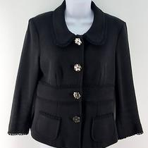 Sz M Nanette Lepore Jacket Black Cotton Retro Mother of Pearl Flower Buttons Photo