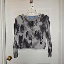 Sz Pl Simply Vera Wang Gray & White Short Sweater Cardigan 100% Cotton M208 Photo