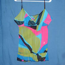 Sz S Cami Tunic Geometric Sheer Chiffon Pink Green Aqua Black Spaghetti Straps Photo