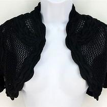 Sz S Elie Tahari Sweater Black Silk Blend Crochet Shrug Bolero Photo