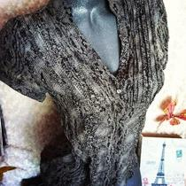 Sz S  Express 100% Silk Gray Snake Print Sheer Ruffled Blouse Top 4 6 8 New Photo