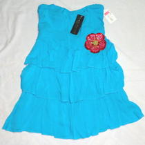 Sz S Junior/teen Girl- Strapless Sun Dress With 3 Tier Ruffle Skirt by Rampage Photo