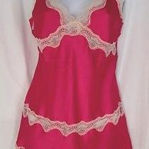 Sz S Victoria's Secret Nightgown Bright Pink Satin W/ Ivory Lace Slip Lingerie Photo