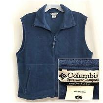 Sz Xl Columbia Mens Full Zip Sleeveless Blue Fleece Vest Jacket Xlarge Photo